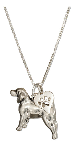 Sterling Silver 18 inch Beagle Necklace with Dog Paw Print Heart Pendant