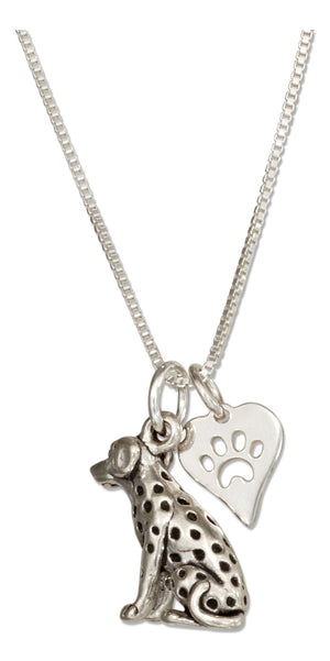 Sterling Silver 18 inch Dalmatian Pendant Necklace with Dog Paw Print Heart Charm