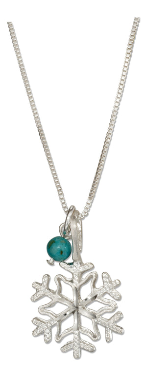 Sterling Silver 18 inch Snowflake Pendant Necklace with Blue Riverstone Bead