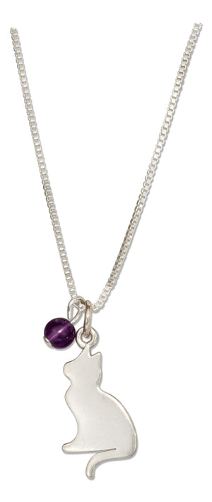 Sterling Silver 18 inch Silhouette Cat Pendant Necklace with Amethyst Bead