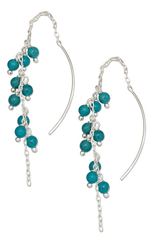Sterling Silver Multi-bead Dangling Simulated Turquoise Ear Thread Earrings
