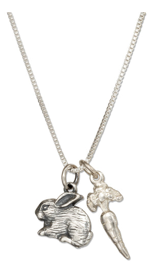 Sterling Silver 18 inch Carrot and Bunny Rabbit Pendant Necklace
