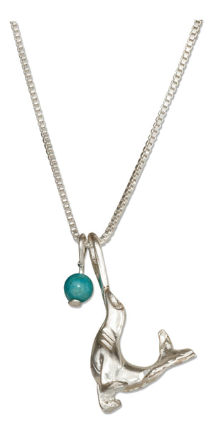 Sterling Silver 18 inch Sea Lion Pendant Necklace with Blue Riverstone Ball