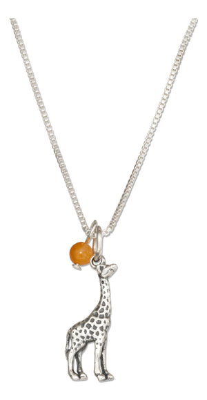 Sterling Silver 18 inch Giraffe Pendant Necklace with Orange Quartz Bead