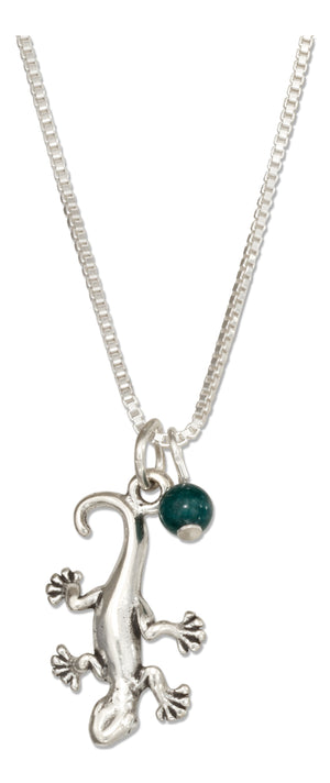 Sterling Silver 18 inch Gecko Lizard Necklace with Green Marble Bead
