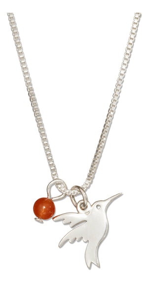 Sterling Silver 18 inch Silhouette Hummingbird Necklace with Dark Orange Quartz Bead