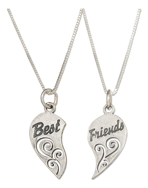 "Sterling Silver 18 inch ""Best Friends"" Mizpah Heart Necklace Set"