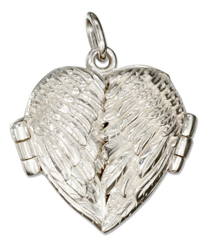 Sterling Silver High Polish Angel Wings Heart Locket