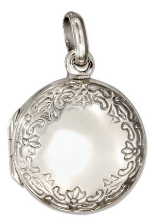 Sterling Silver Small Etched Border Round Locket