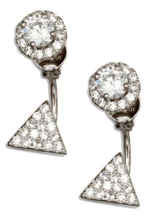 Sterling Silver Cubic Zirconia Round Triangle Front Back Earrings