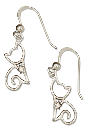 Sterling Silver Silhouette Sitting Cat Earrings on French Wire