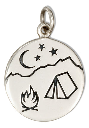 Sterling Silver Round Campfire Scene Charm