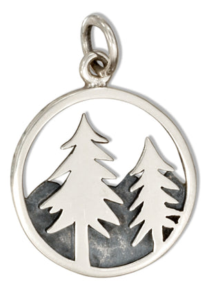 Sterling Silver Round Mountain and Trees Charm