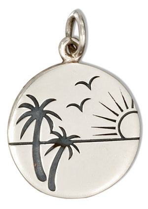 Sterling Silver Round Tropical Beach Scene Charm
