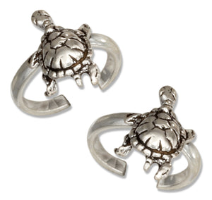 Sterling Silver Pair Of Turtle Ear Cuffs