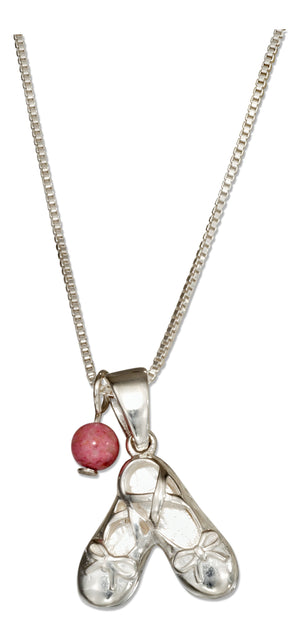 Sterling Silver 18 inch Pair Of Ballet Slippers Necklace with Pink Riverstone Bead