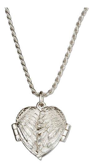 Sterling Silver 18 inch Angel Wings Heart Locket Necklace