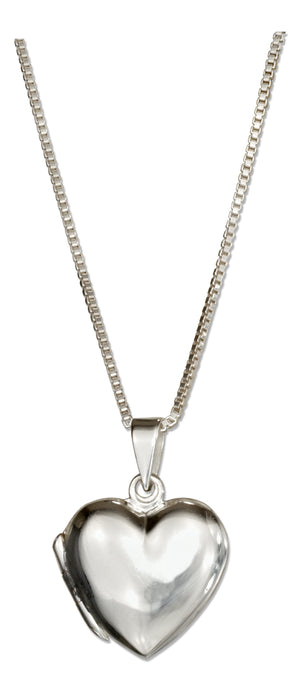 Sterling Silver 18 inch Small High Polish Heart Locket Necklace