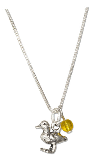 Sterling Silver 18 inch Baby Duck Pendant Necklace with Yellow Glass Bead