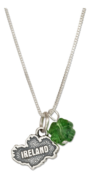 Sterling Silver 18 inch Ireland Map Pendant Necklace with Four Leaf Clover Crystal
