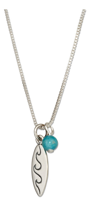 Sterling Silver 18 inch Surfboard Pendant Necklace with Blue Riverstone Bead
