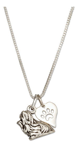 Sterling Silver 18 inch Yorkie Yorkshire Terrier Pendant Necklace with Paw Print Heart