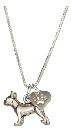 Sterling Silver 18 inch Boston Terrier Pendant Necklace with Dog Paw Print Heart