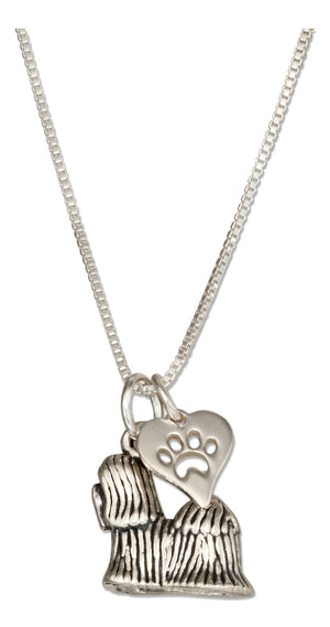 Sterling Silver 18 inch Shih Tzu Pendant Necklace with Dog Paw Print Heart