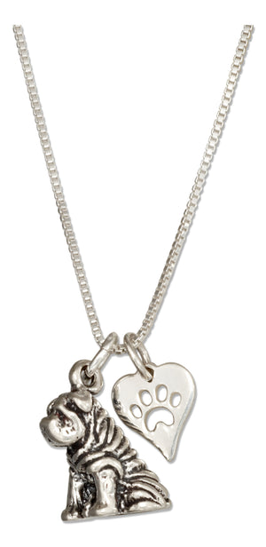 Sterling Silver 18 inch Sharpei Pendant Necklace with Dog Paw Print Heart