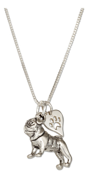 Sterling Silver 18 inch Pug Pendant Necklace with Dog Paw Print Heart