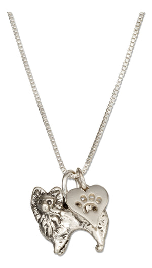 Sterling Silver 18 inch Pomeranian Pendant Necklace with Dog Paw Print Heart