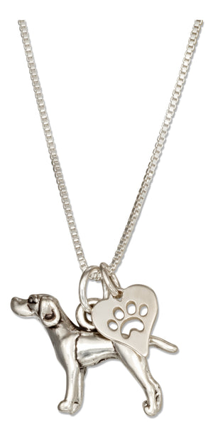 Sterling Silver 18 inch German Shorthaired Pointer Dog Necklace with Paw Print Heart