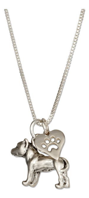 Sterling Silver 18 inch American Staffordshire Terrier Pit Bull Necklace with Paw Heart