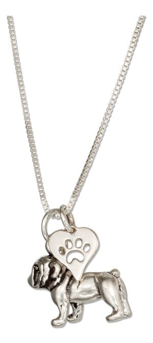 Sterling Silver 18 inch Bulldog Pendant Necklace with Paw Print Heart