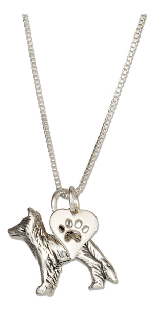 Sterling Silver 18 inch Border Collie Pendant Necklace with Paw Print Heart