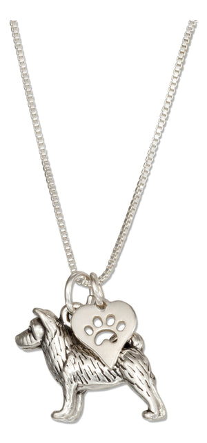 Sterling Silver 18 inch Akita Pendant Necklace with Dog Paw Print Heart Charm