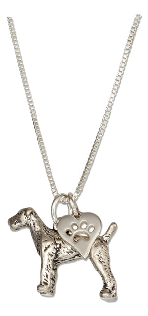Sterling Silver 18 inch Airedale Pendant Necklace with Dog Paw Print Heart Charm