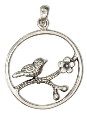 Sterling Silver Round Bird Pendant on Flowering Branch