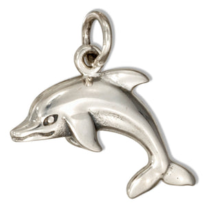 Sterling Silver 3D Jumping Dolphin Charm