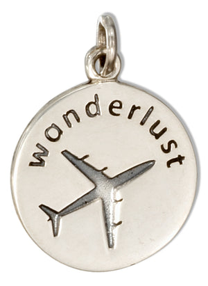 "Sterling Silver Round ""Wanderlust"" Charm with Airplane"