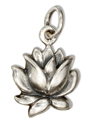Sterling Silver Small Blooming Lotus Blossom Charm