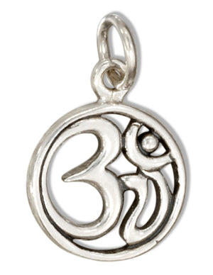 Sterling Silver Tiny Round Ohm Pendant