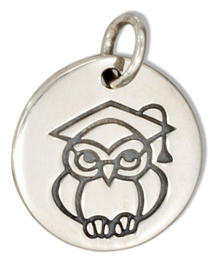 Sterling Silver Round Disk with Owl Graduation Charm