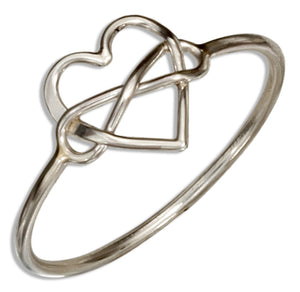 Sterling Silver Infinity Knot Heart Wire Ring