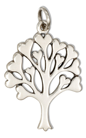 Sterling Silver Tree Of Life Charm with Hearts