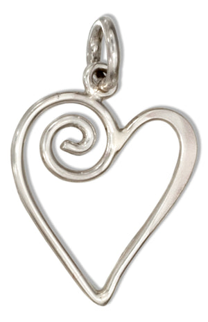 Sterling Silver Open Swirl Heart Charm
