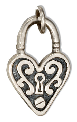 Sterling Silver Scrolled Heart Lock Charm