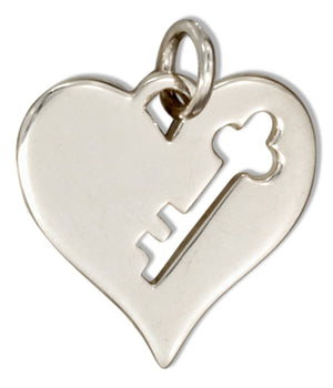 Sterling Silver Cut-out Key on Heart Charm