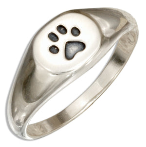 Sterling Silver Paw Print Signet Ring