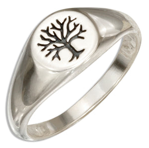 Sterling Silver Tree Of Life Signet Ring